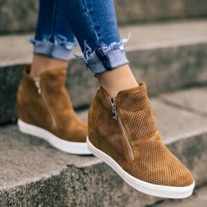 Swift Leather Wedge Mesh Shoes for Women